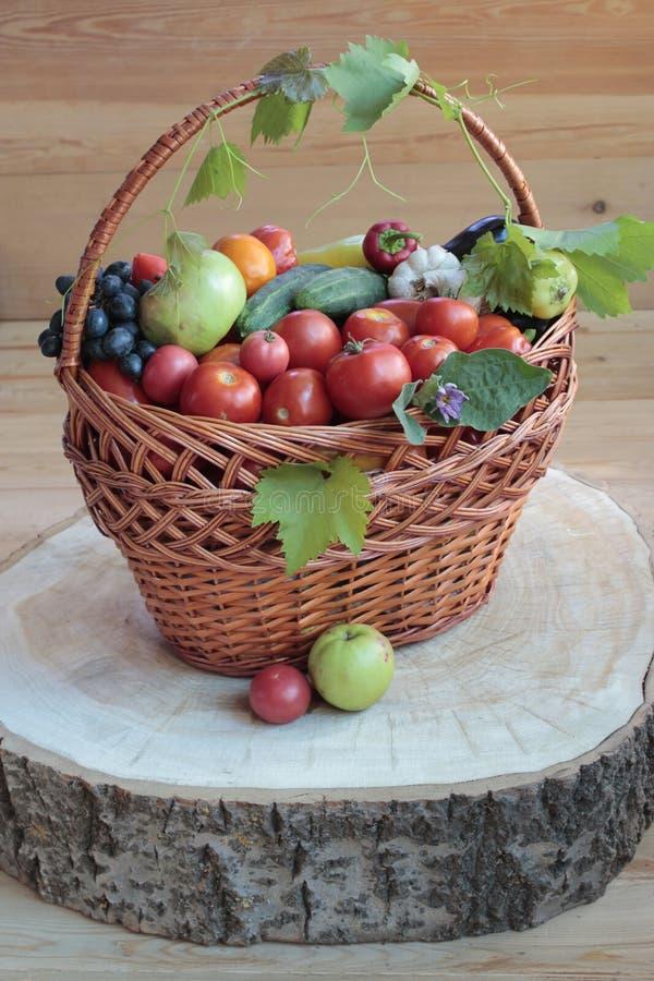Uma trança da cesta com fruto e verde-materiais fotos de stock royalty free