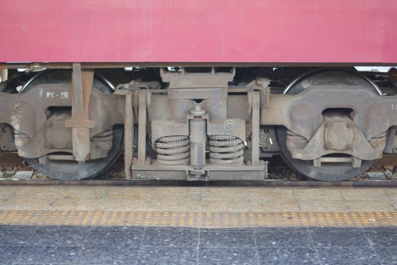 Uma trilha do trem e uma roda do trem dão a grande perspectiva ao tamanho imagens de stock
