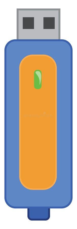 Uma unidade de armazenamento externa conhecida como desenho ou ilustração de cores de vetor de unidade flash ou pen ilustração stock