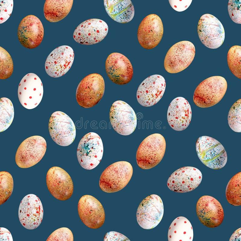 Uma variedade de ovos da páscoa coloridos em um fundo azul uniforme Teste padrão sem emenda imagens de stock royalty free