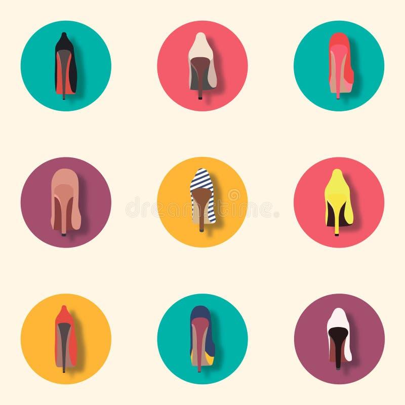 Uma variedade de sapatas alto-colocadas saltos forma Grupo do ícone imagens de stock royalty free