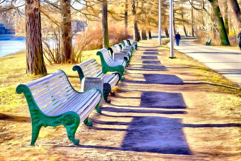 Uma via pública larga e urbanizada com os bancos no parque - estilizado à pintura fotografia de stock