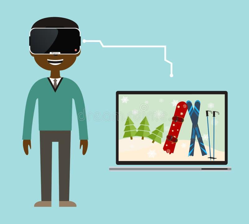 Uma viagem da realidade virtual à estância de esqui ilustração stock