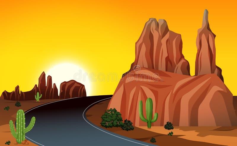 Uma viagem por estrada no oeste ilustração royalty free