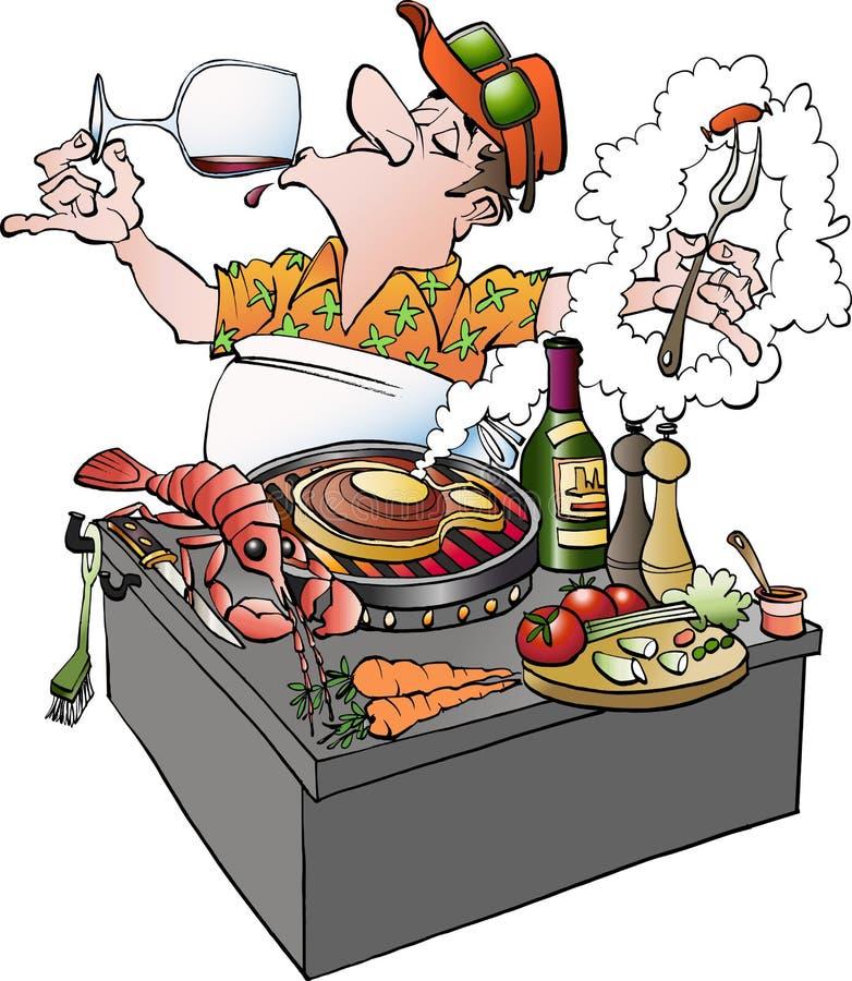 Uma videira do gosto do grillmaster ilustração royalty free