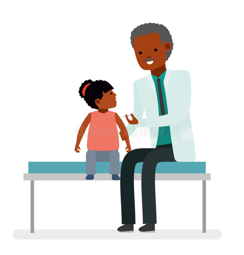 Uma visita ao doutor Inquietação com a saúde da criança vaccination ilustração do vetor