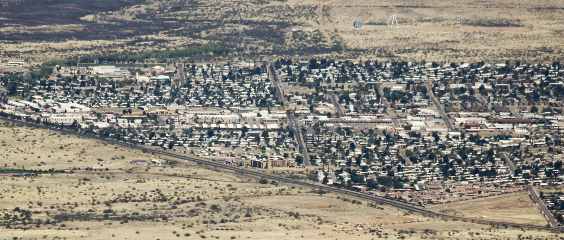 Uma vista aérea da serra vista, o Arizona, West End de Carr fotografia de stock royalty free