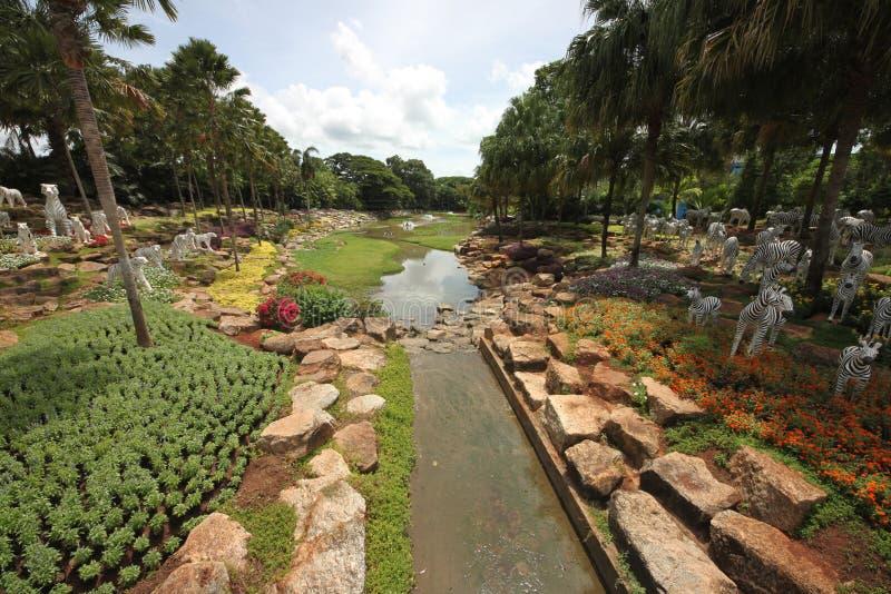 Uma vista bonita a um prado com lagoa e grama e árvores e pedras no jardim botânico tropical de Nong Nooch perto da cidade de Pat imagens de stock royalty free
