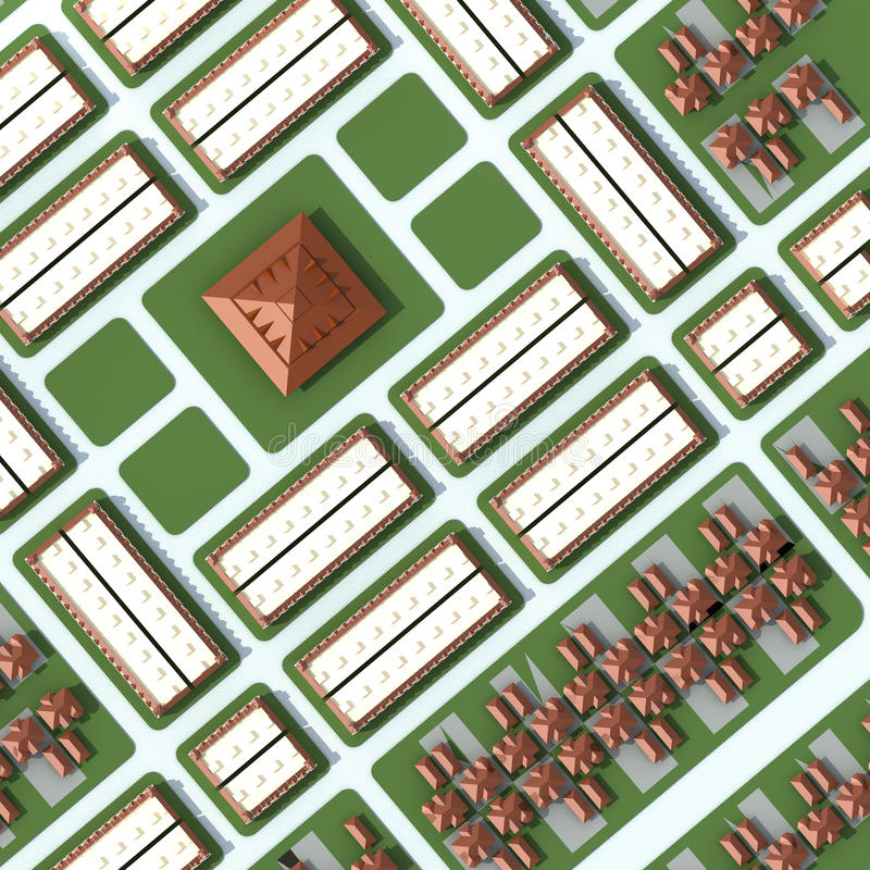 Uma vista 3D aérea da cidade com casas e construções na parte superior ilustração royalty free