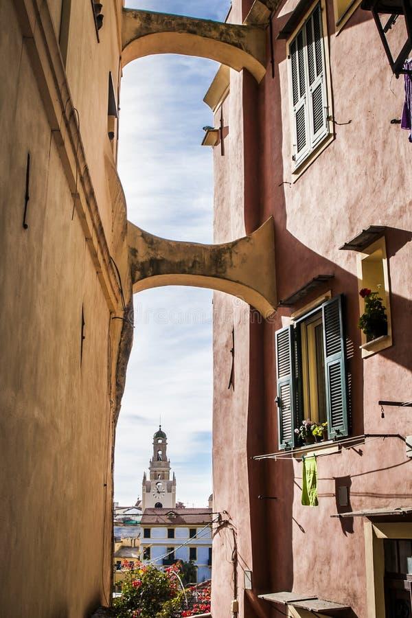Uma vista da cidade velha de Sanremo 1 fotografia de stock