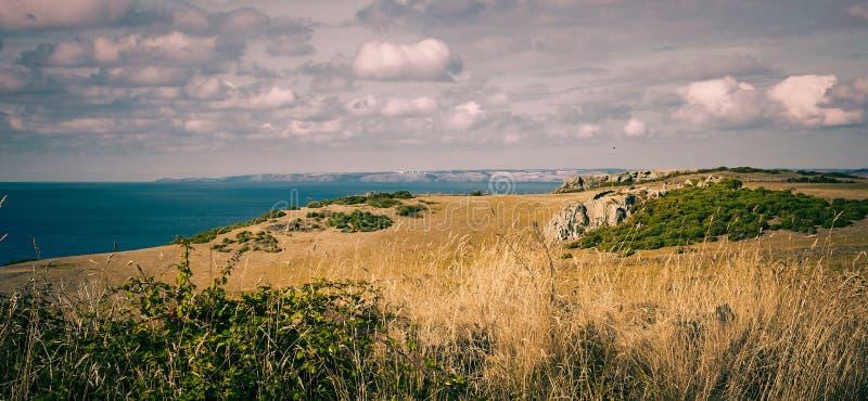 Uma vista da costa norte de Cornualha fotografia de stock