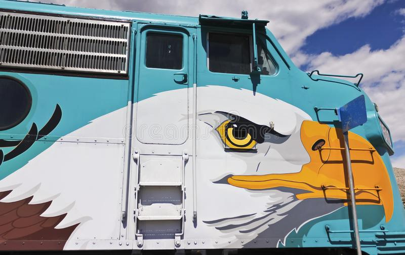 Uma vista da locomotiva do trem de estrada de ferro da garganta de Verde, Clarkdale, AZ, EUA foto de stock royalty free