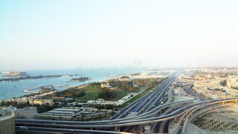 Uma vista da palma Jumeira Dubai da torre da concórdia foto de stock