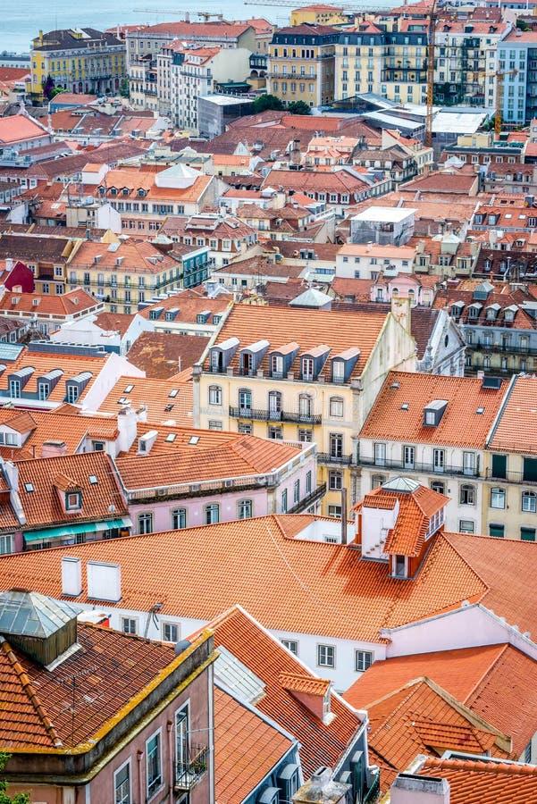 Uma vista de Baixa de Lisboa de Castelo de São Jorge imagem de stock royalty free