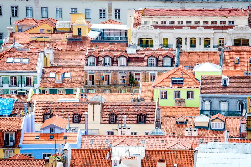 Uma vista de Baixa de Lisboa de Castelo de São Jorge foto de stock