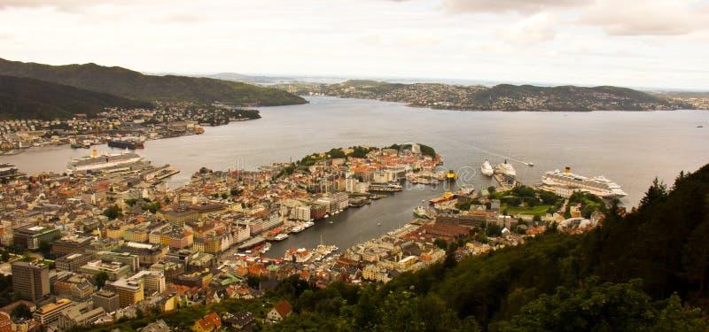Uma vista de Bergen foto de stock royalty free