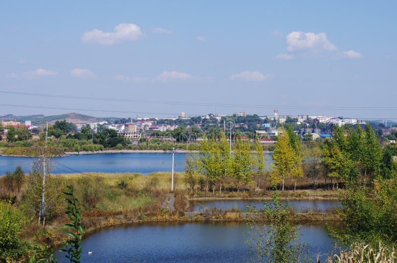 Uma vista de Liaoyuan na província de Jilin em China fotografia de stock royalty free