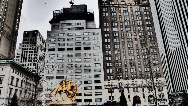 Uma vista de Manhattan no inverno fotografia de stock royalty free