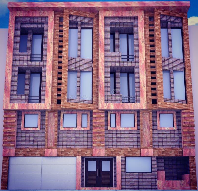 Uma vista de uma construção residencial em determinados ângulos fotografia de stock