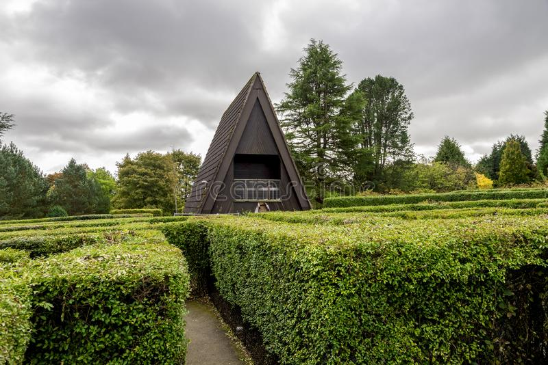 Uma vista do labirinto de Hazlehead com as conversão plantadas do arbusto à pirâmide deu forma à casa da entrada, Aberdeen, Escóc foto de stock