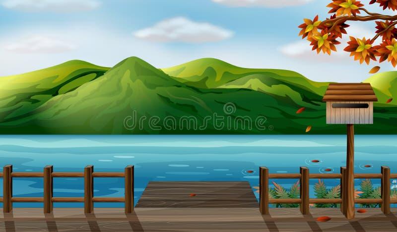 Uma vista do mar e das montanhas altas ilustração royalty free
