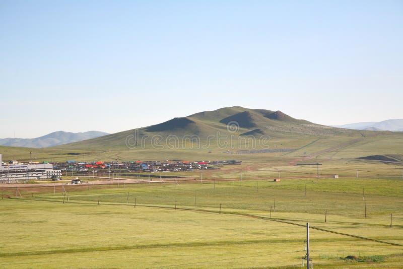 Uma vista do trem transiberiano em Ulaanbaatar, Mongólia imagem de stock royalty free