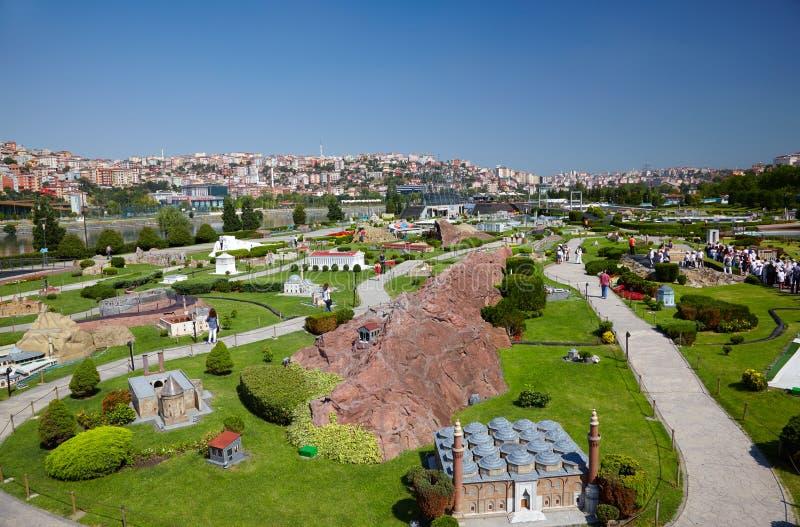 Uma vista geral do parque de Miniaturk, Istambul foto de stock royalty free