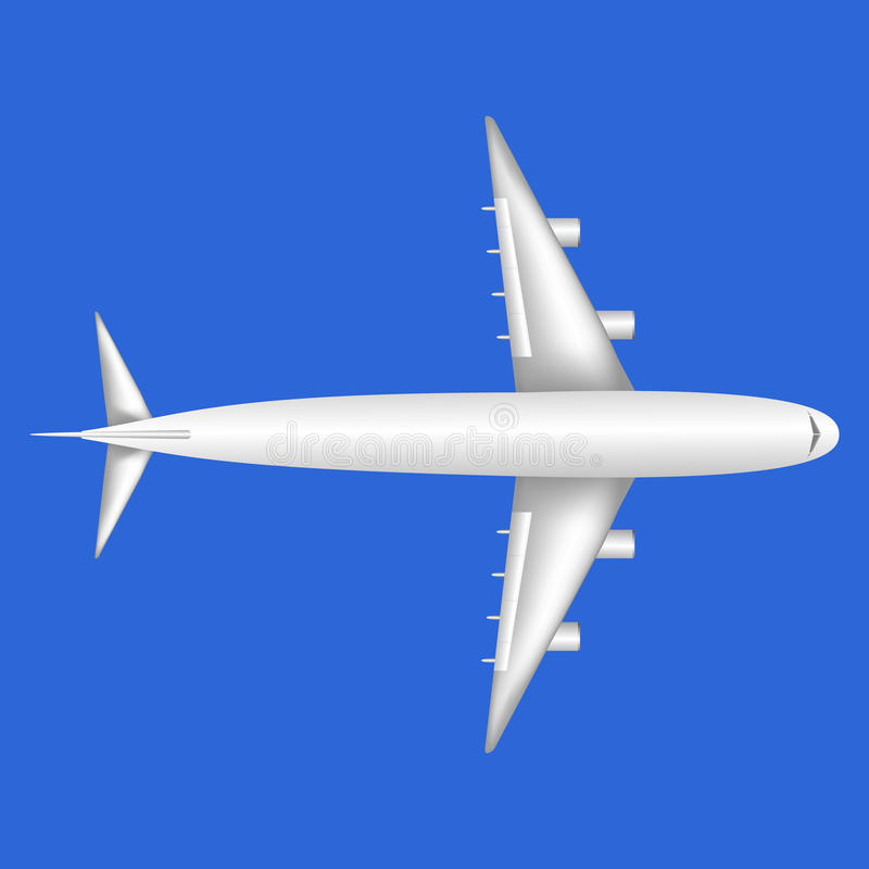 Uma vista geral plana aero do jato branco da parte superior ilustração stock