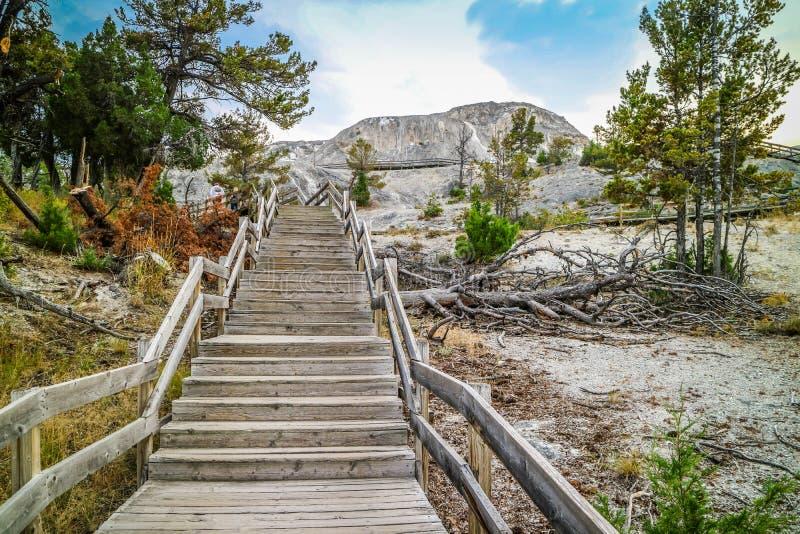 Uma vista lindo das rochas naturalmente formadas no parque nacional de Yellowstone, Wyoming fotografia de stock