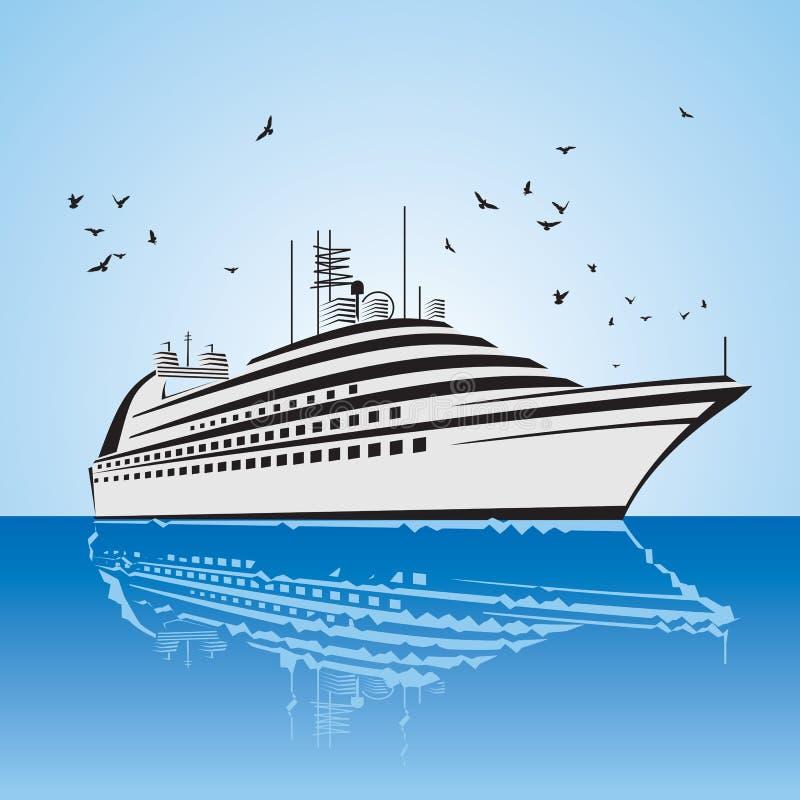 Uma vista muito realística do navio de cruzeiros, similar à liberdade do navio do mar. ilustração stock