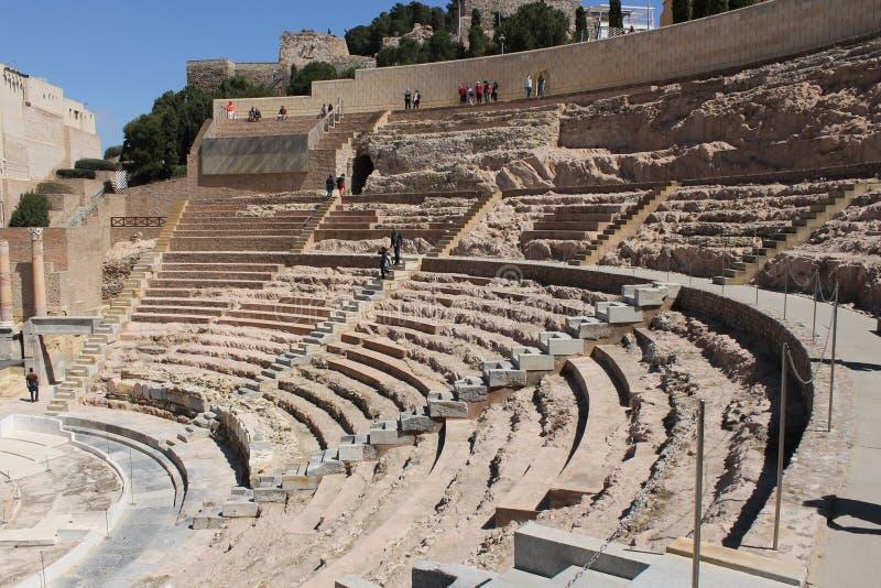Uma vista panorâmica de Roman Theater de Cartagena na Espanha imagens de stock royalty free