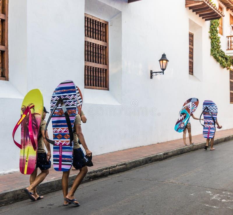 Uma vista típica de Cartagena Colômbia imagens de stock royalty free