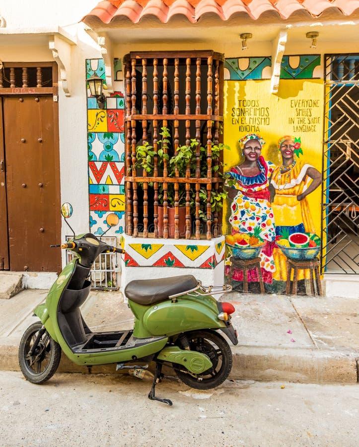 Uma vista típica em Cartagena em Colômbia imagem de stock royalty free