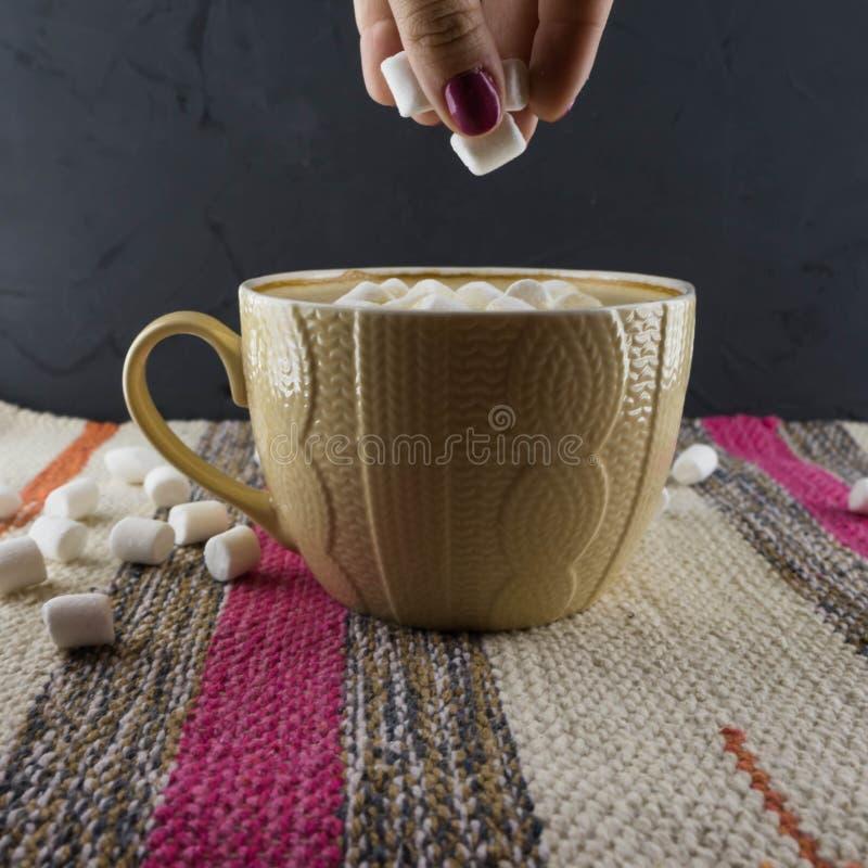 Uma xícara de café em um estilo acolhedor em um fundo listrado da tela com marshmallows foto de stock royalty free