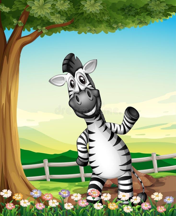 Uma zebra de sorriso perto da árvore ilustração do vetor