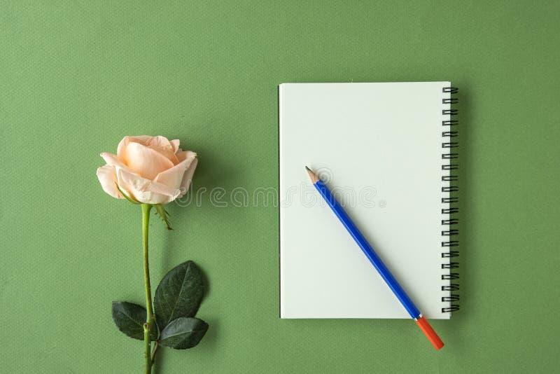 Uma zombaria do caderno acima com uma rosa foto de stock