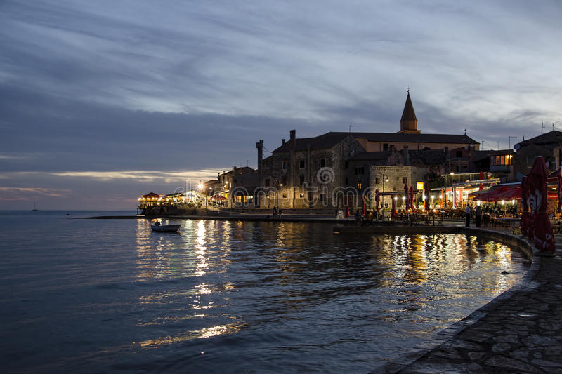 Umag old town during twilight, Croatia royalty free stock image