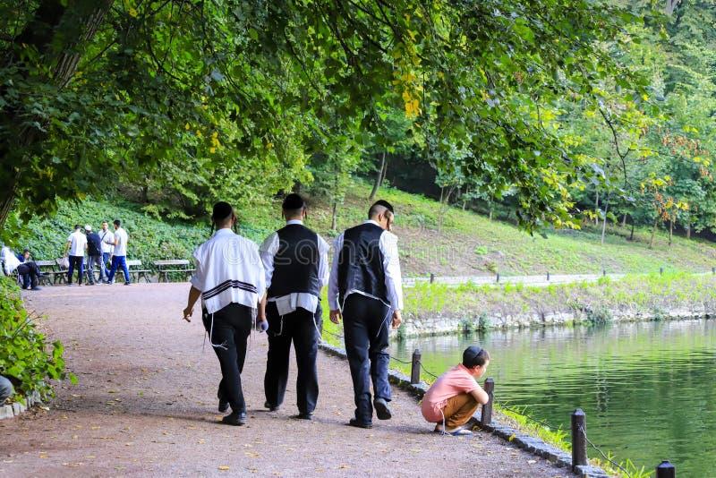 Uman, Ukraine 11.09 2018. A group of boys, Hasidic Jews, walks in Uman park, the Jewish New Year, religious Orthodox Jew. Uman, Ukraine 11.09 2018. A group of royalty free stock photos