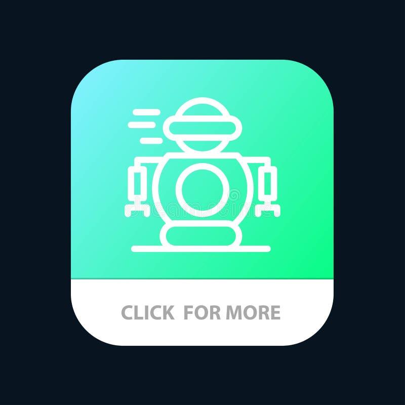 Umano, tecnologia, robot, bottone mobile del App del robot Android e linea versione dell'IOS illustrazione di stock