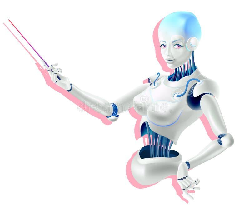 Umanoide Android femminile con il puntatore della tenuta di intelligenza artificiale a disposizione illustrazione di stock