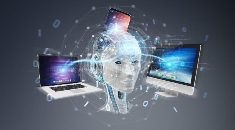 Umanoide bianco che controlla la rappresentazione moderna dei dispositivi 3D royalty illustrazione gratis