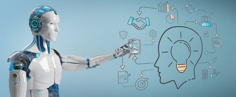 Umanoide bianco che crea l'interfaccia di intelligenza artificiale