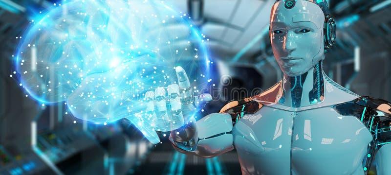 Umanoide dell'uomo bianco che crea la rappresentazione di intelligenza artificiale 3D