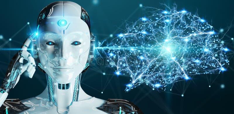 Umanoide della donna bianca che crea renderi di intelligenza artificiale 3D illustrazione vettoriale