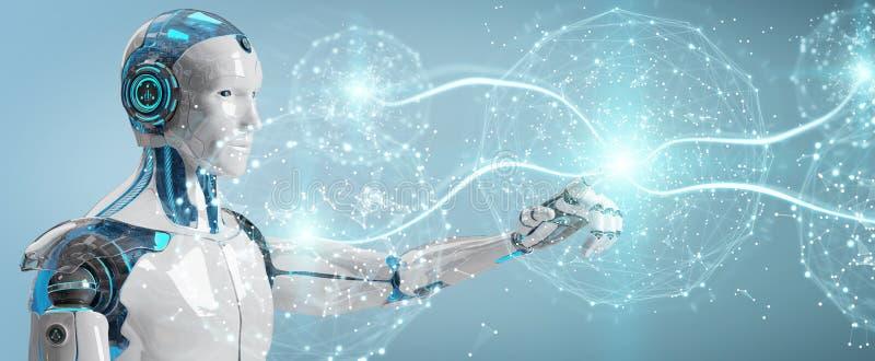 Umanoide maschio bianco facendo uso della rappresentazione digitale della rete globale 3D illustrazione vettoriale