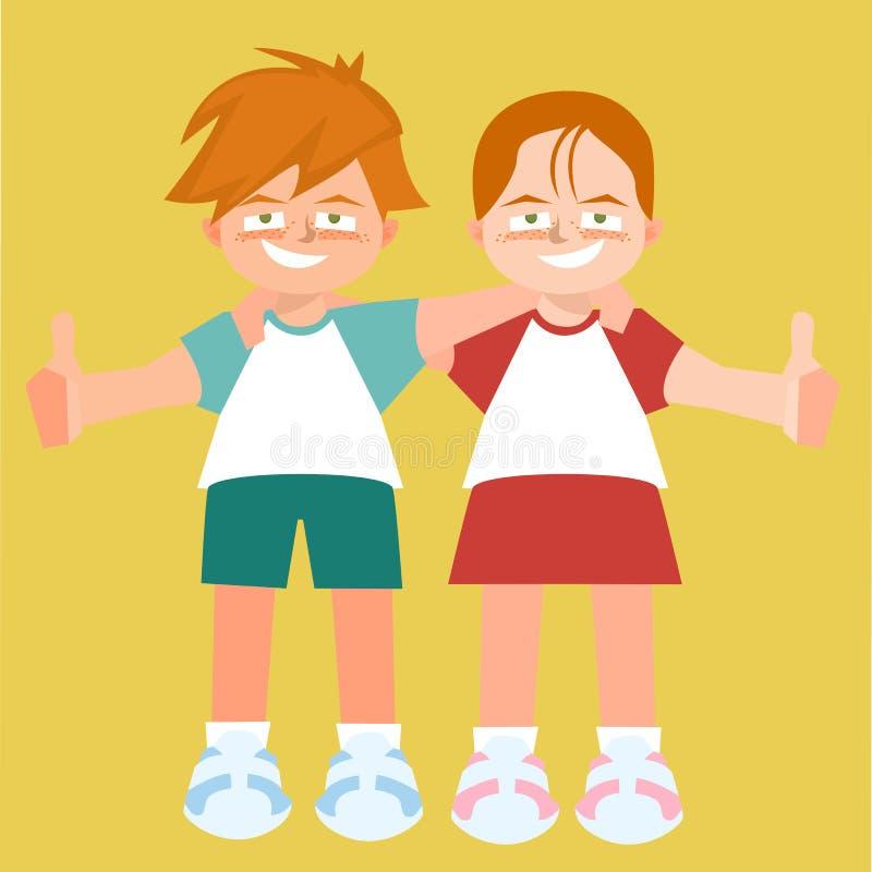 Umarmen der Zwillingskindervektorkarikatur lizenzfreie abbildung