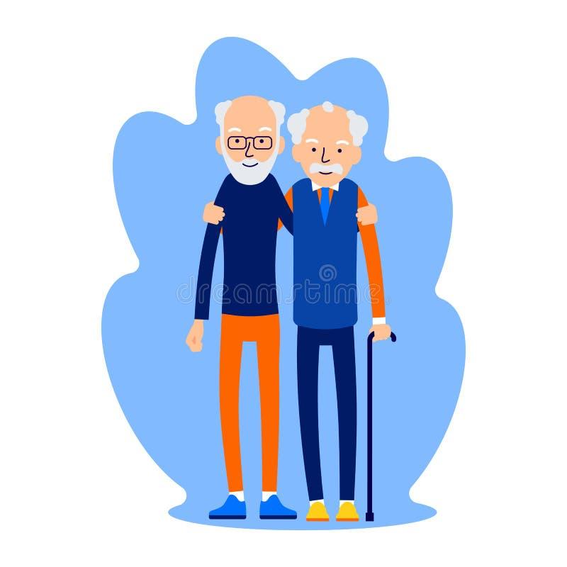 Umarmen mit zwei Männern Männliche Freundschaft Freund-Stellung, jedes umarmend lizenzfreie abbildung