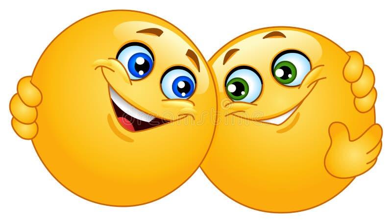 Umarmen von Emoticons lizenzfreie abbildung
