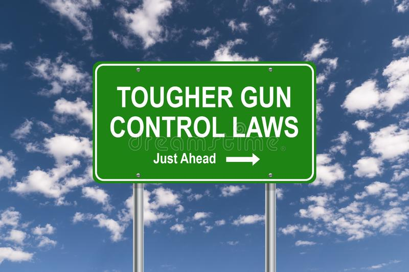 Umas leis de controlo de armas mais resistentes assinam ilustração do vetor