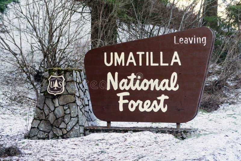 Umatilla Nationaal Forest Entrance Sign Oregon Wilderness stock foto
